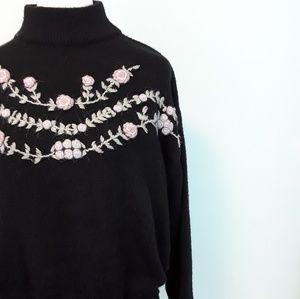 Vintage Floral Embroidered Black Sweater